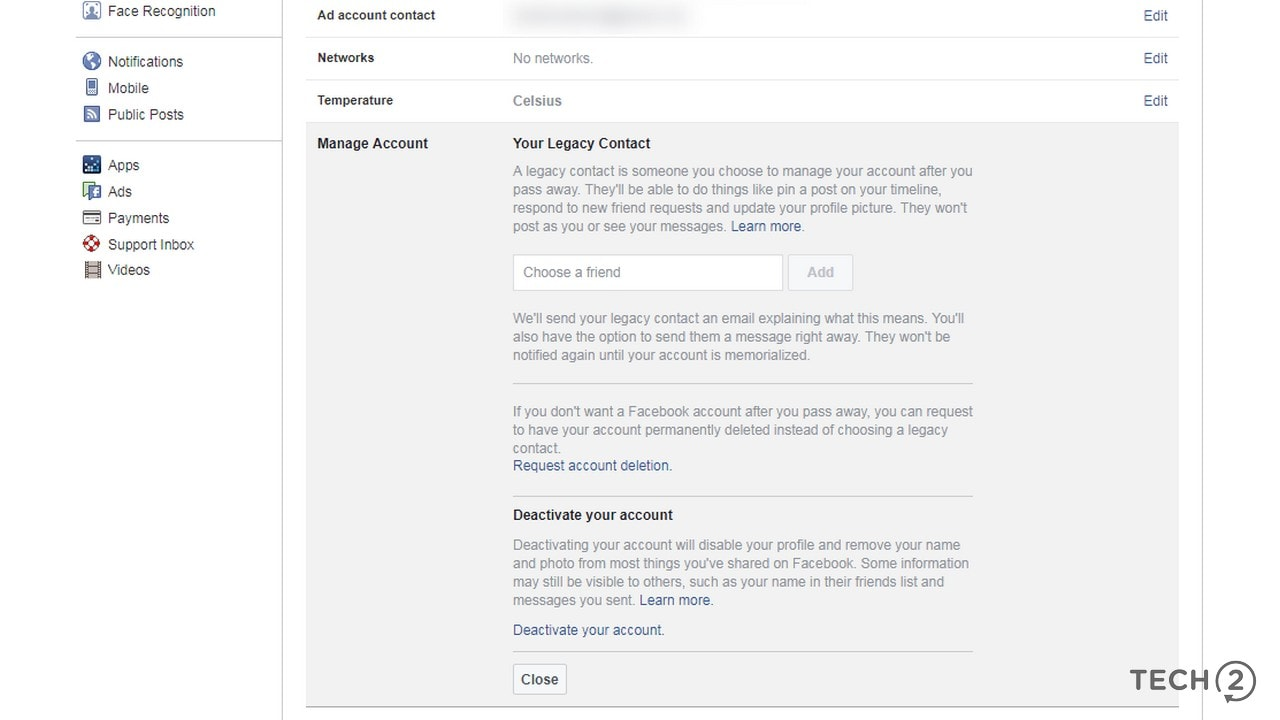 Facebook's Account management section in Settings