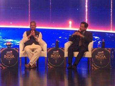 From (L-R) Uttarakhand chief minister Trivendra Singh Rawat and Meghala chief minister Conrad Sangma at the News18 Rising India Summit in New Delhi on Saturday. Image courtesy News18