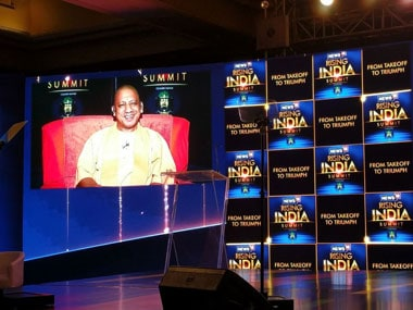 Uttar Pradesh chief minister Yogi Adityanath took part in the News18 Rising India Summit from Lucknow on Saturday. Image courtesy News18
