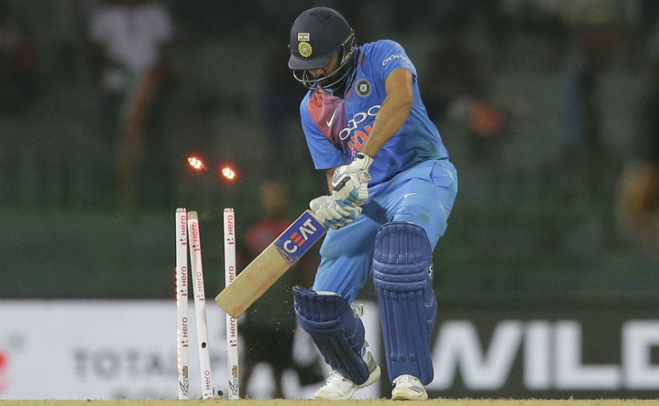 Rohit Sharma gets his stumps rattled to depart for a score of 17. AP