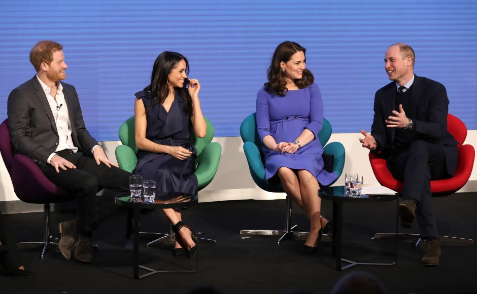 """Actress Meghan Markle made an official appearance alongside fiance Prince Harry (L) and his elder brother William and wife Kate on Wednesday, the first time Britain's royal """"Fab Four"""" have carried out an engagement together. AFP"""