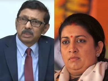File image of Prasar Bharati CEO Surya Prakash and I&B minister Smriti Irani. AFP/YouTube