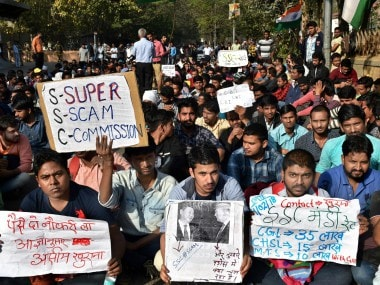 SSC aspirants stage a protest demanding CBI probe into the alleged SSC paper leak in New Delhi. PTI
