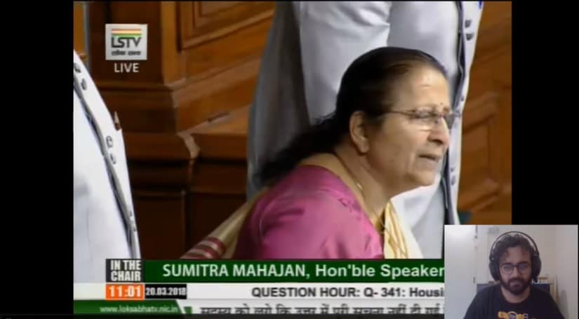 Meghnad's commentary of Parliament proceedings during Sansad Watch. YouTube screengrab