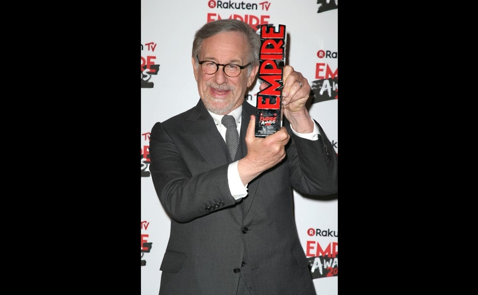 Steven Spielberg with the Empire Legend Award/Photo by Joel C Ryan/Invision/AP.