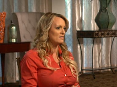 Stormy Daniels during the interview on Sunday. AP