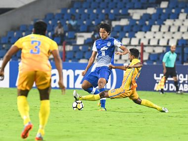 Benglauru FC's Thongkhosiem Haokip in action during the clash against Dhaka Abahani. Image courtesy: Twitter @Bengalurufc