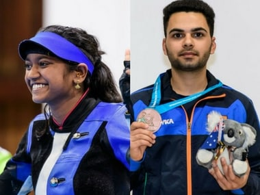 Elavenil Valarivan won gold while Arjun Babuta won bronze at the junior ISSF World Cup. Image courtesy: Twitter @OGC_India