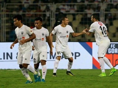 Marcio de Souza Greg—rio Jœnior of Northeast United FC and Danilo Lopes Cezario of Northeast United celebrates a goal during match 64 of the Hero Indian Super League between FC Goa and NorthEast United FC held at the Jawaharlal Nehru Stadium, Goa, India on the 4th February 2018 Photo by: Vipin Pawar / ISL / SPORTZPICS