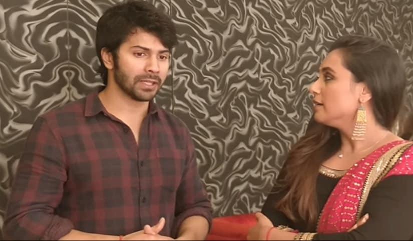 Varun Dhawan in conversation with Rani Mukerji. YouTube screengrab