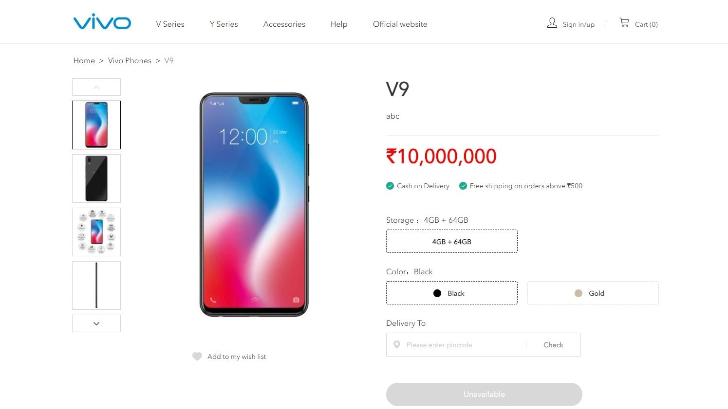 Vivo V9 listing spotted on company's official website with