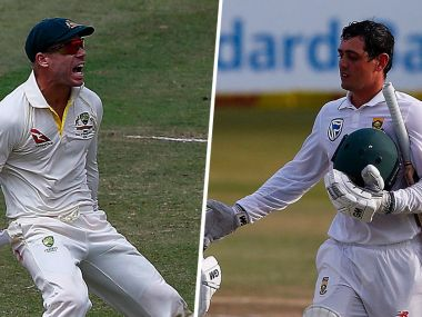 Australia's David  Warner (L) and South Africa's Quinton de Kock (R). Image Courtesy: Twitter/@CricketAus