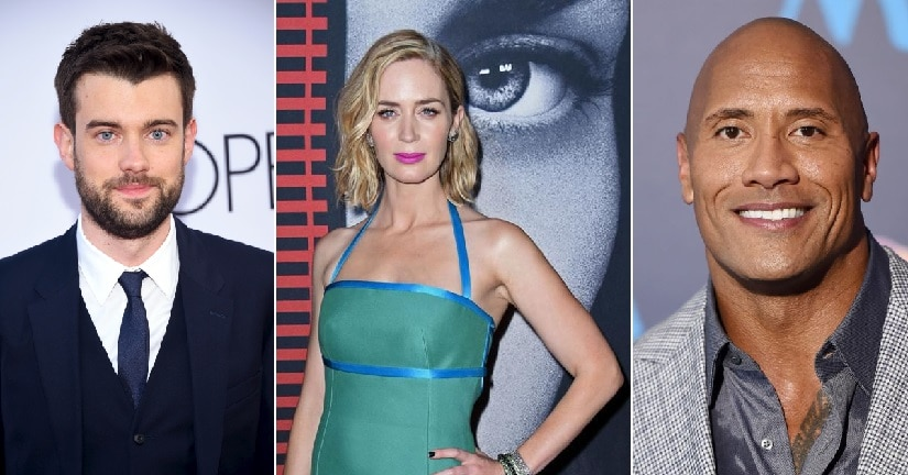 (From L-R) Jack Whitehall, Emily Blunt and Dwayne Johnson. Agencies