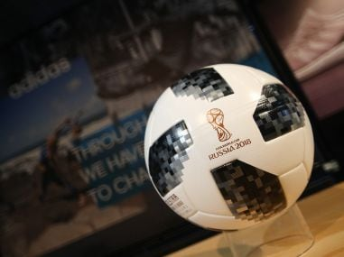 A football with the sign of the FIFA World Cup 2018. Reuters