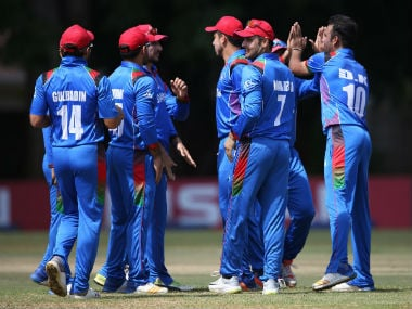 Afghanistan players get together during their World Cup Qualifier match against UAE. Twitter/@ACBofficials