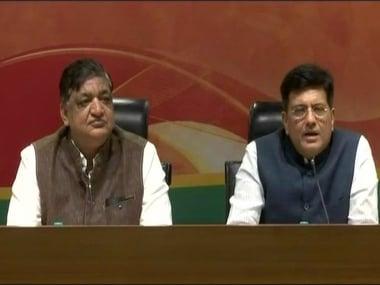Naresh Agarwal and Union minister Piyush Goyal addressing the media on Monday. News18