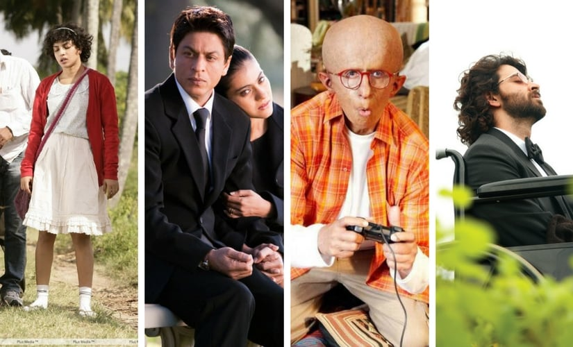 Priyanka Chpora in Barfi, SRK in My Name is Khan, Amitabh Bachchan in Paa and Hrithik Roshan in Guzaarish/Images from Twitter.