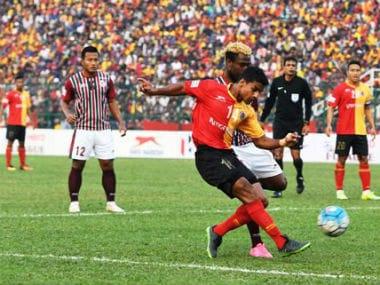 An East Bengal versus Mohun Bagan match underway. Twitter/@ILeagueOfficial