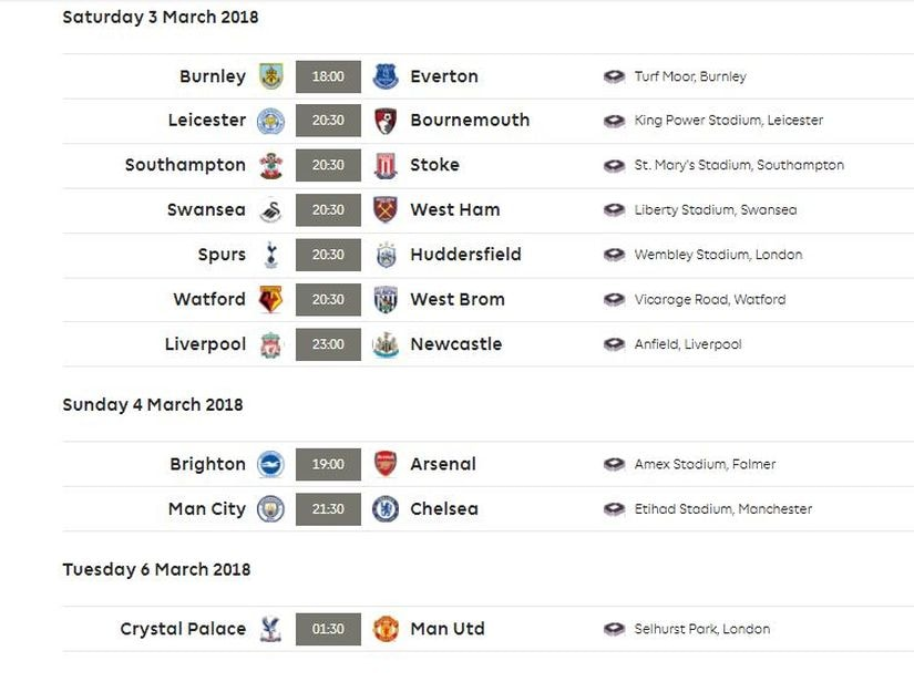 Gameweek 29 fixtures