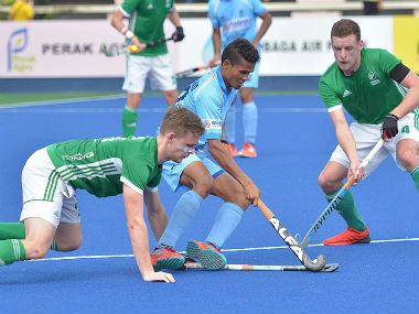 Action between India and Ireland in the Sultan Azlan Shah Cup. Twitter/ @TheHockeyIndia