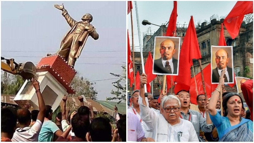 (L) The Lenin statue being toppled in . (R) Leaders protest the demolition. File Photo/PTI