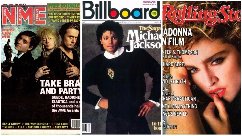 Covers for New Musical Express, Billboard and Rolling Stone magazines