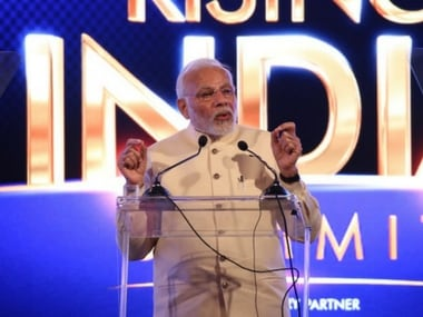 Prime Minister Narendra Modi at the Rising India summit. News18