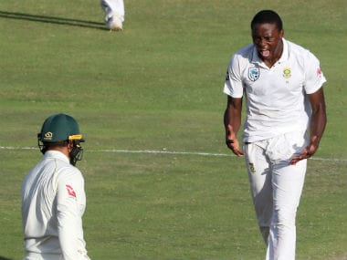 Kagiso Rabada celebrates after taking the wicket of Usman Khawaja in the Port Elizabeth Test. Reuters
