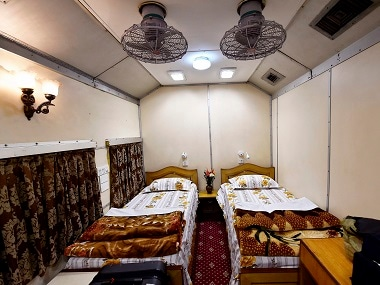 Inside view of the first private saloon tour which departed from Old Delhi Railway Station. PTI