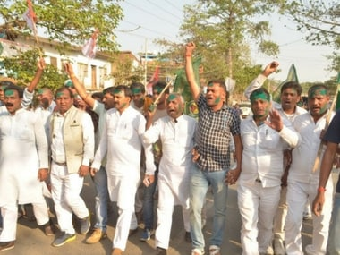 RJD workers take the celebrations to the streets after their candidate's win in Jahanabad. Kumar Krishna Mohan Alias Suday Yadav defeated Abhiram Sharma (JDU) in the nail-biting election. Razi Anwar/101Reporters