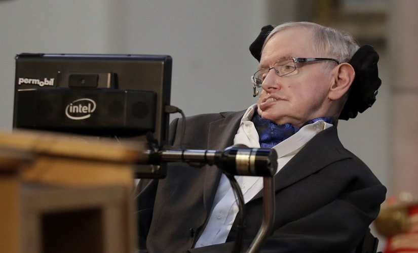 Professor Stephen Hawking delivers a keynote speech as he receives the Honorary Freedom of the City of London. AP