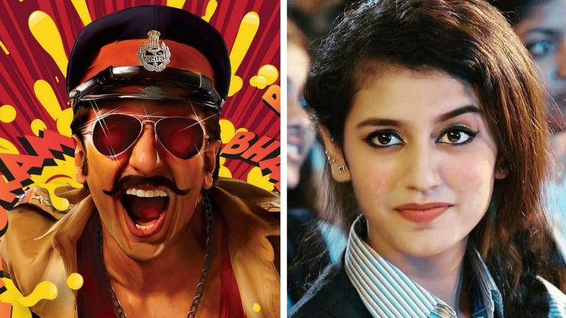 Ranveer Singh in Simmba poster (left); Priya Prakash Varrier in Oru Adaar Love. Facebook images