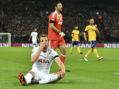 Tottenham Hotspur's Harry Kane reacts after missing a chance against Juventus. AFP