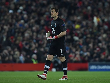 Porto's Spanish goalkeeper Iker Casillas gestures during the UEFA Champions League round of sixteen second leg football match between Liverpool and FC Porto at Anfield in Liverpool, north-west England on March 6, 2018. / AFP PHOTO / PAUL ELLIS