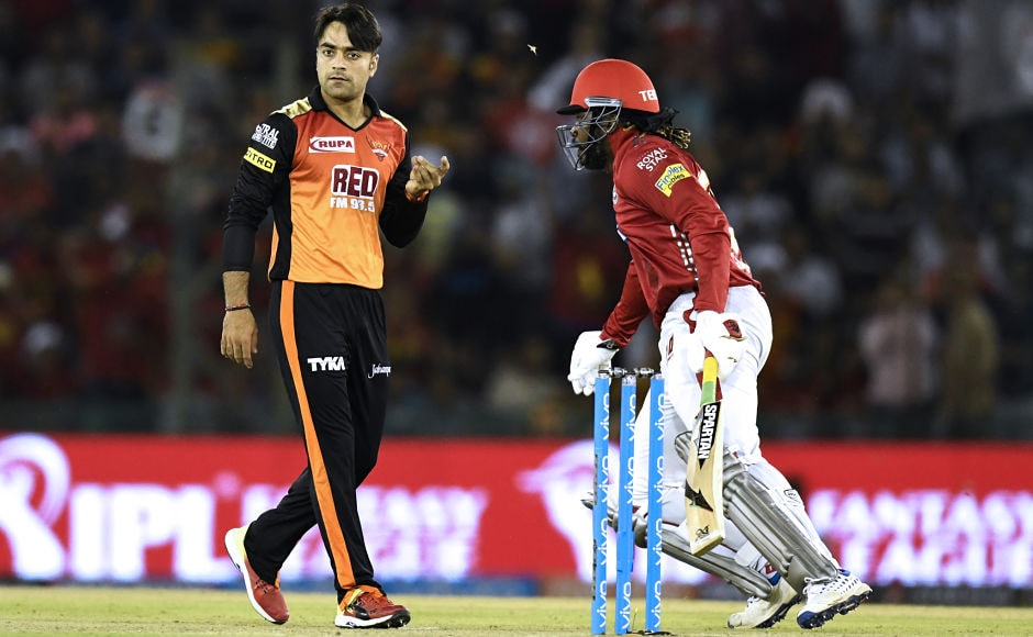 Rashid Khan was hit for four back to back sixes by Chris Gayle. He ended up with the figures of 55 for 1 in his quota of four overs, becoming the costliest bowler for Hyderabad. Clearly, he did not have a great day at office. Sportzpics
