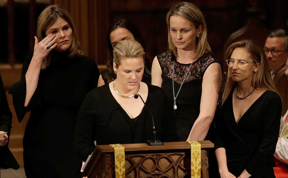 Former US presidents, family and friends on Saturday bid a tearful farewell to the former first lady Barbara Bush at a private funeral at the nation's largest Episcopal church and remembered her as the