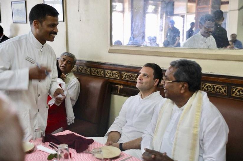 Siddaramaiah with Rahul Gandhi during the latter's Karnataka visit. Image source: Facebook/ Siddaramaiah.official