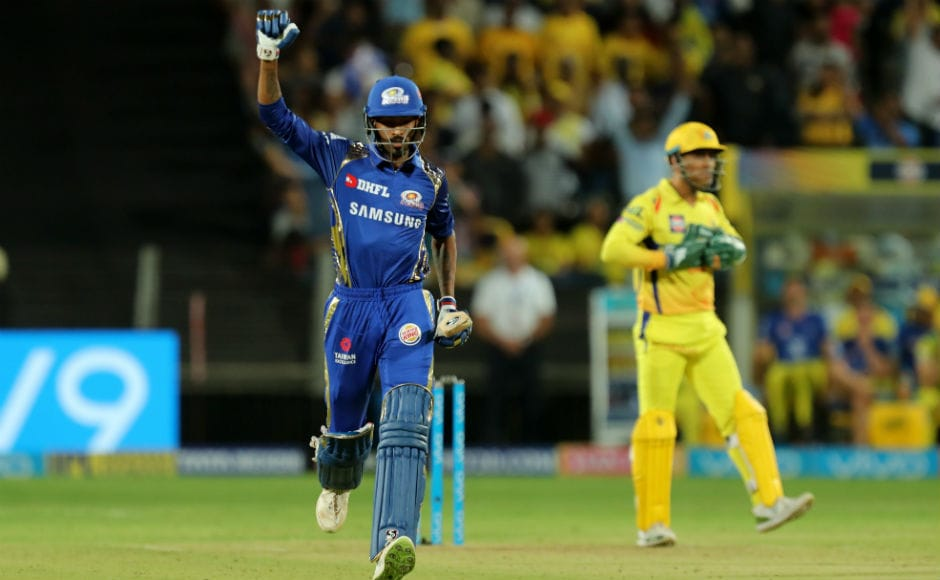Hardik Pandya celebrates his team's second win of the season as Mumbai Indians prevailed over Chennai Super Kings by eight wickets in Pune. Skipper Rohit Shamra top-scored for his side. Sportzpics