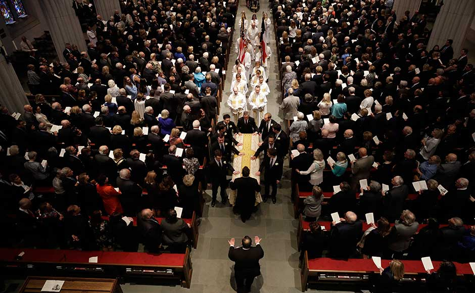 The private funeral was held at the St Martin's Episcopal Church in Houston a day after more than 6,000 people paid their respects to the woman, known by many as