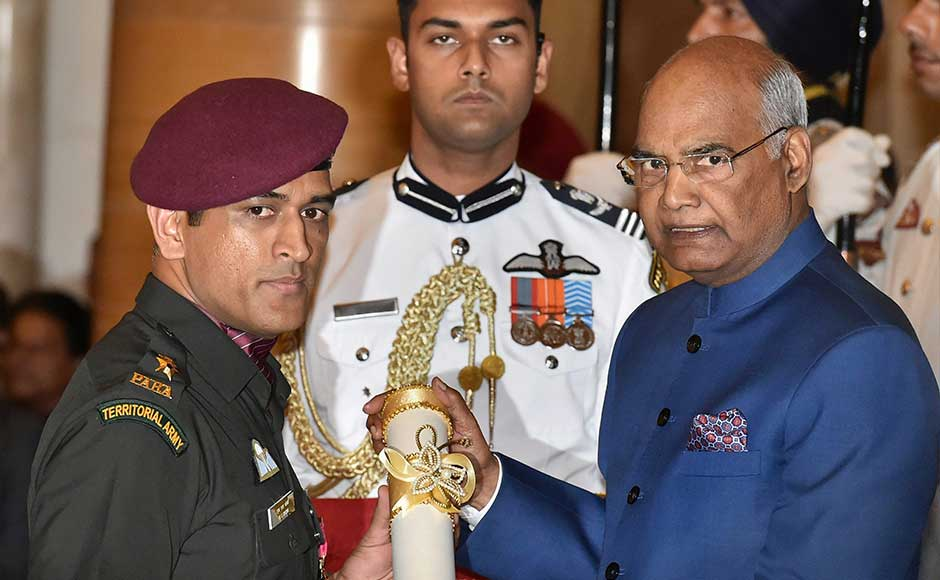 Dressed in an army uniform, Dhoni marched to the dais to receive Padma Bhushan from the president amid a huge round of applause from the audience. Dhoni was conferred with the honorary rank of lieutenant colonel by the Indian territorial army in 2011. PTI