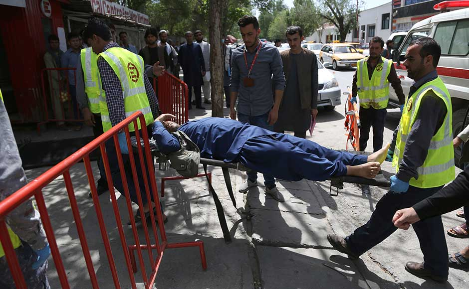 The first blast came shortly before 8:00 am (03:30 local time) near the headquarters of the Afghan intelligence services, when a motorcyclist detonated his explosives, the interior ministry said. AP