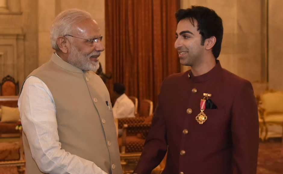 Besides Dhoni and Advani, folk artist Sharda Sinha, contemporary Indian artist Laxman Pai and former Ambassador of Russia to India, Alexander Kadakin (posthumously), were also presented with the Padma Bhushan, the country's third-highest civilian award after Bharat Ratna and Padma Vibhushan, by Kovind. Advani greets Prime Minister Narendra Modi. Twitter@narendramodi