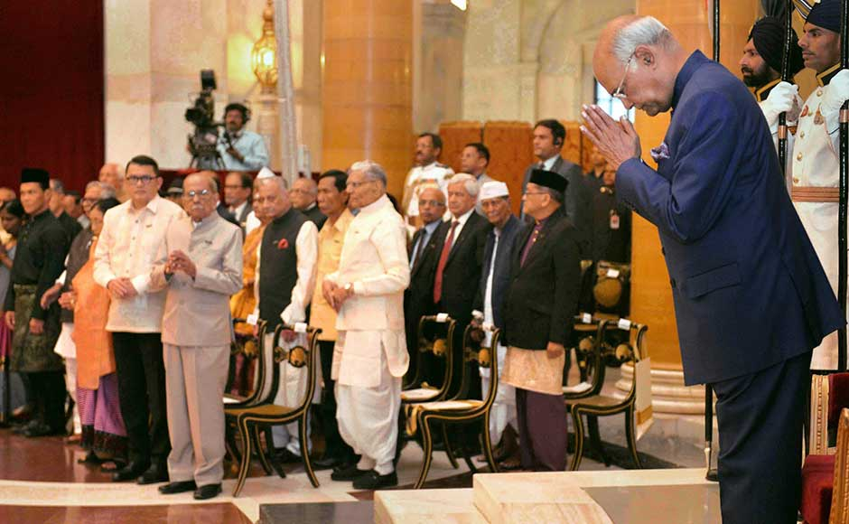 The president presented five Padma Bhushan and 38 Padma Shri awards at the civil investiture ceremony held at the Durbar Hall of the Rashtrapati Bhavan. Vice-President M Venkaiah Naidu, Prime Minister Narendra Modi, Home Minister Rajnath Singh and Lok Sabha Speaker Sumitra Mahajan were among several dignitaries present at the function. PTI