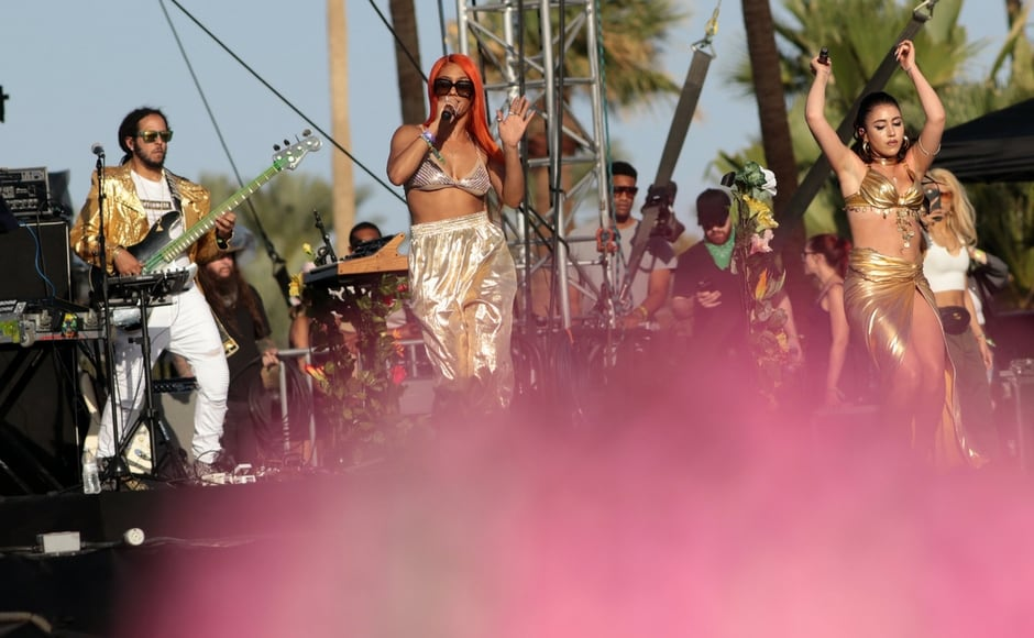 Kali Uchis performs during the Coachella Music and Arts Festival/Kyle Grillot/AFP