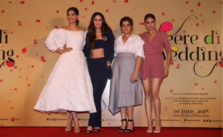 The cast of Veere Di Wedding at the trailer launch.