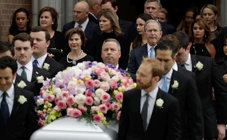 Following the service, Bush's grandsons carried the casket out of the church. The Bush family then drove by motorcade about 70 miles to the grounds of the George HW Bush Presidential Library in College Station, Texas, where she will be buried. AP