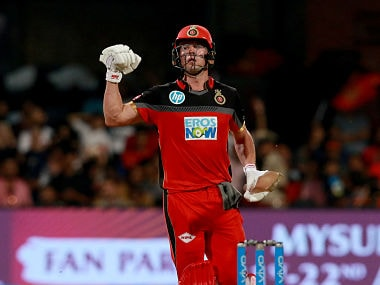 AB de Villiers pumps his fists in celebration after securing a convincing six-wicket victory over Delhi Daredevils. Sportzpics