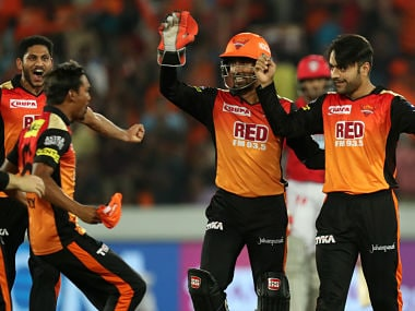 Rashid Khan of Sunrisers Hyderabad celebrates wicket of Ravichandran Ashwin captain of Kings XI Punjab during match twenty five of the Vivo Indian Premier League 2018 (IPL 2018) between the Sunrisers Hyderabad and the Kings XI Punjab held at the Rajiv Gandhi International Cricket Stadium in Hyderabad on the 26th April 2018. Photo by: Prashant Bhoot /SPORTZPICS for BCCI