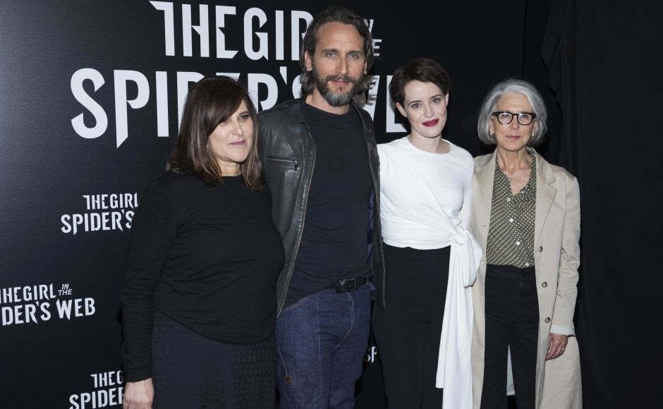 The Girl in the Spider's Web producer Amy Pascal (L), director Fede Alvarez, star Claire Foy and producer Elizabeth Cantillon attend CinemaCon in Las Vegas. Photo by Eric Jamison/Invision/AP