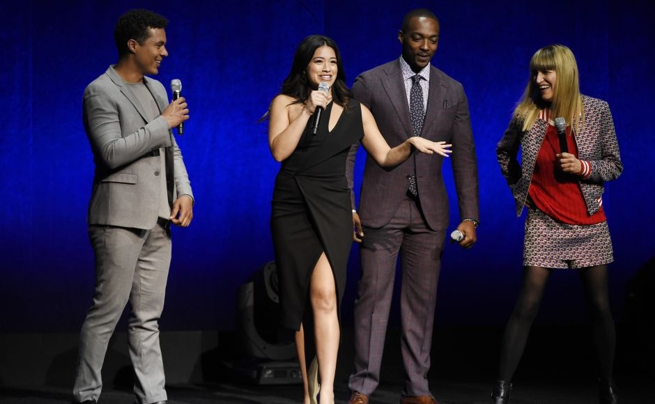 Catherine Hardwicke, far right, director of the upcoming film Miss Bala, is joined onstage by cast members (From L-R) Ismael Cruz Cordova, Gina Rodriguez and Anthony Mackie during the Sony Pictures Entertainment presentation at CinemaCon 2018, the official convention of the National Association of Theatre Owners in Las Vegas. Photo by Chris Pizzello/Invision/AP
